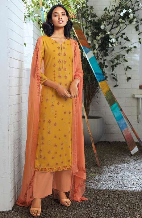 Cotton Digital Printed Summer Suit Set in Mustard - SERC0151