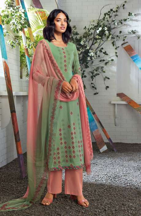 Cotton Digital Printed Summer Suit Set in Green - SERC0152