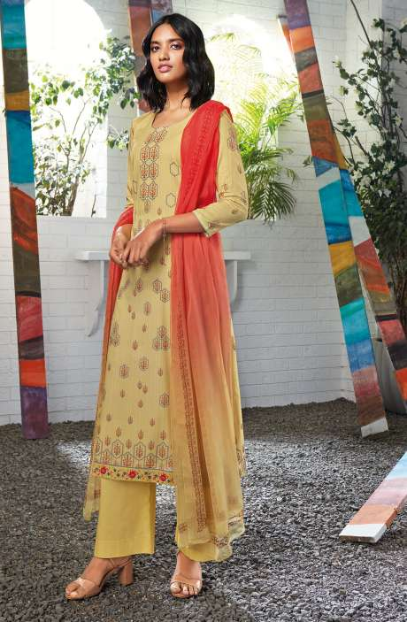 Cotton Digital Printed Summer Suit Set in Lemon Yellow - SERC0153