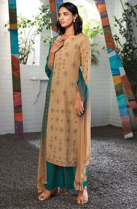 Cotton Digital Printed Summer Suit Set in Beige - SERC0154