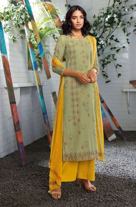 Cotton Digital Printed Summer Suit Set in Pista Green - SERC0155