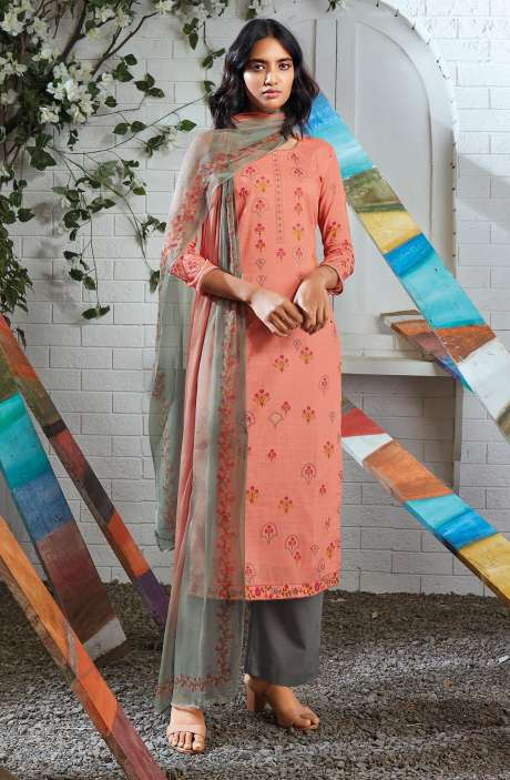 Cotton Digital Printed Summer Suit Set in Peach - SERC0156