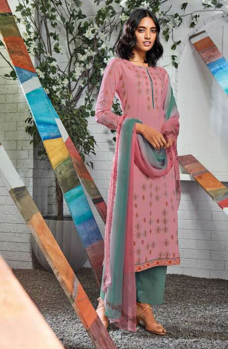 Cotton Digital Printed Summer Suit Set in Pink - SERC0157