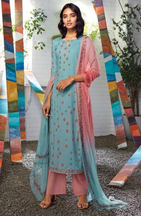 Cotton Digital Printed Summer Suit Set in Firozi - SERC0158