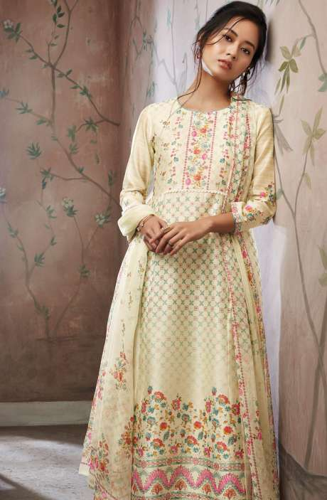 Floral Printed with Swarovski Work Chanderi Cotton Salwar Suit In Mint Green - SEV5823-R