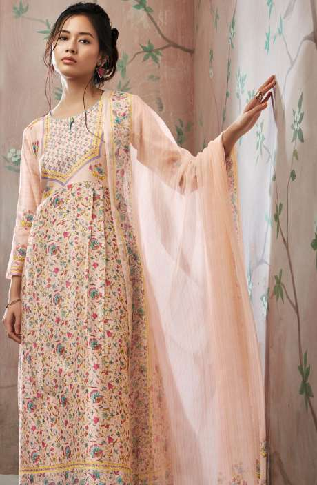 Floral Printed with Swarovski Work Chanderi Cotton Salwar Kameez Set In Peach - SEV5827-R