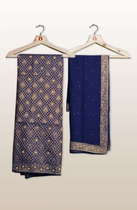 Banarasi Cotton Silk Unstitched Salwar Suit Sets In Purple with Dupatta - SEWSLK7476A
