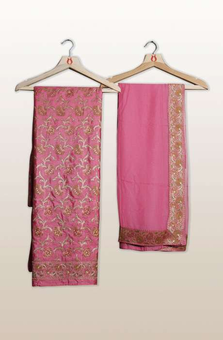 Banarasi Cotton Silk Unstitched Salwar Suit Sets In Pink with Dupatta - SEWSLK7476B