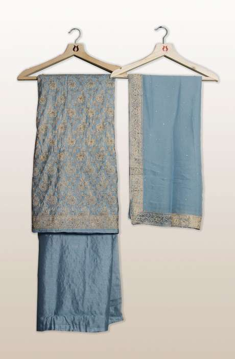 Banarasi Cotton Silk Unstitched Salwar Suit Sets In Grey with Dupatta - SEWSLK7478B
