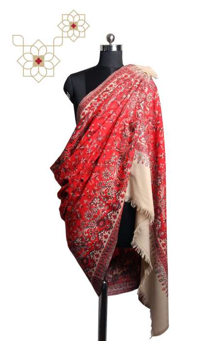 Multicolor & Red Paisley Woven Blended Wool Shawl - SHA09874382