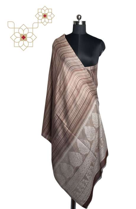 Multicolor FIne Wool Printed Stripes Woven Shawl - SHA09876820