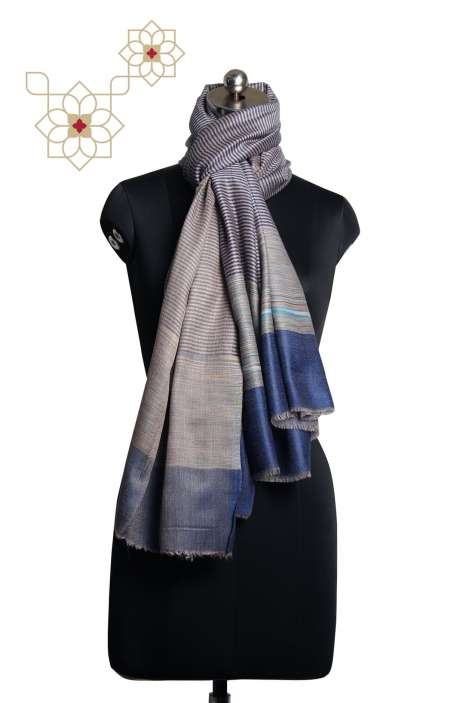 Fine Wool Multi-coloured Printed Stripes Shawl - SHA09876862
