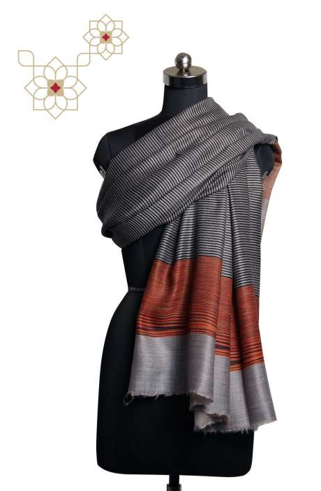 Fine Wool Multi-coloured Printed Stripes Shawl - SHA09876863