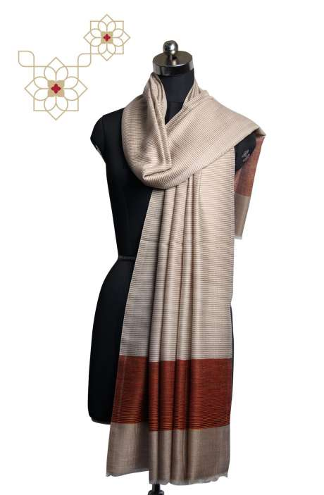 Fine Wool Multi-coloured Printed Stripes Shawl - SHA09876864