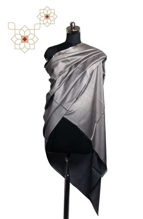 Silk Wool Grey Shawl - SHA09876906