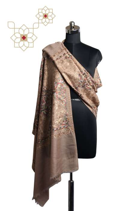 Beige Tafta Wool Fancy Embroidered Kashmiri Stole - STO09876969
