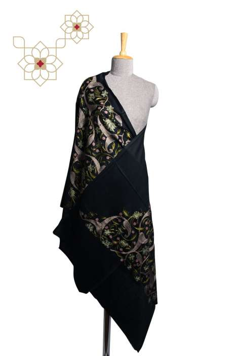 Black Tafta Wool Fancy Embroidered Kashmiri Stole - STO09876975