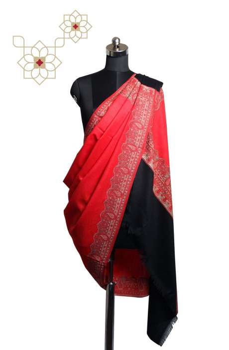 Multicolor & Red Paisley Woven Blended Wool Shawl - SHA09877005