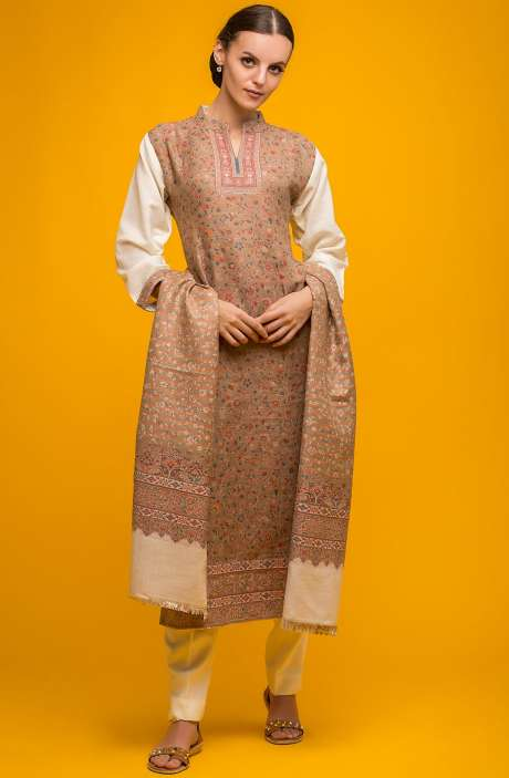 Spun Wool Winter Collection Beige Weaving Salwar Suit - SHA1844