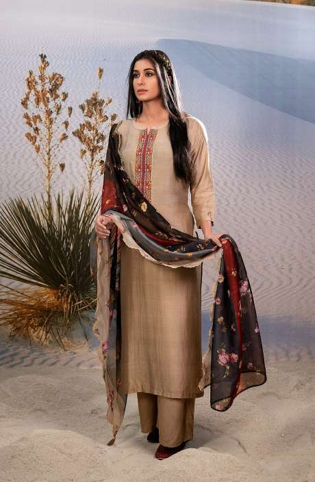 Exclusive Semi-stitched Beautiful Muslin Silk Suit-sets In Beige with Organza Dupatta - SHA6001
