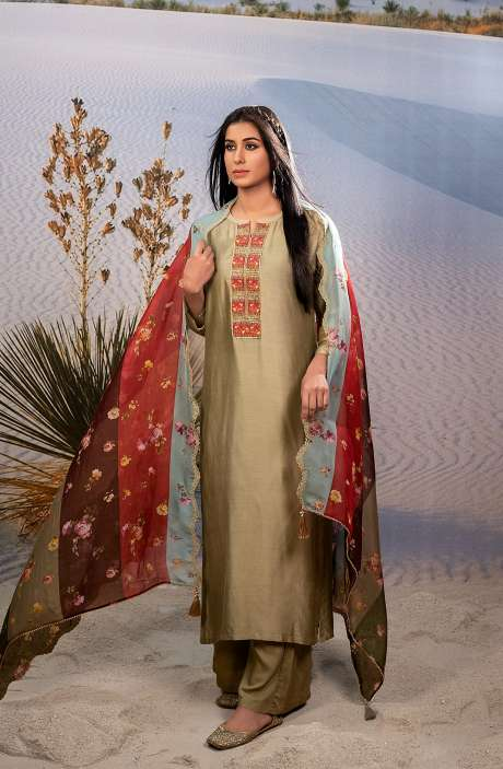 Exclusive Semi-stitched Beautiful Muslin Silk Suit-sets In Mehndi with Organza Dupatta - SHA6002
