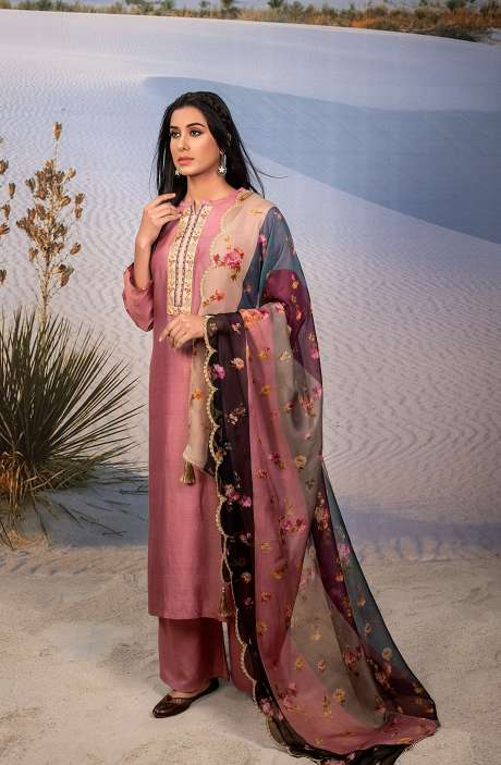 Exclusive Semi-stitched Beautiful Muslin Silk Suit-sets In Pink with Organza Dupatta - SHA6003