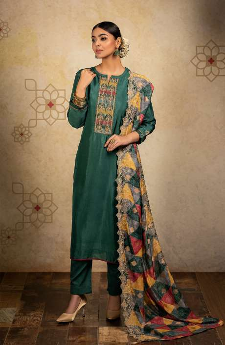 Designer Russian Silk Semi-stitched Salwar Kameez In Bottle Green with Banarasi Silk Dupatta - SHA8241