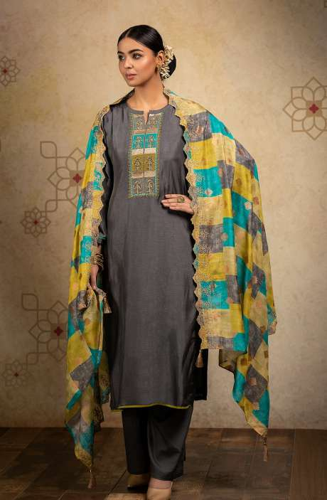 Designer Russian Silk Semi-stitched Salwar Kameez In Grey with Banarasi Silk Dupatta - SHA8242