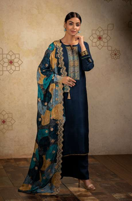 Designer Russian Silk Semi-stitched Salwar Kameez In Blue with Banarasi Silk Dupatta - SHA8243