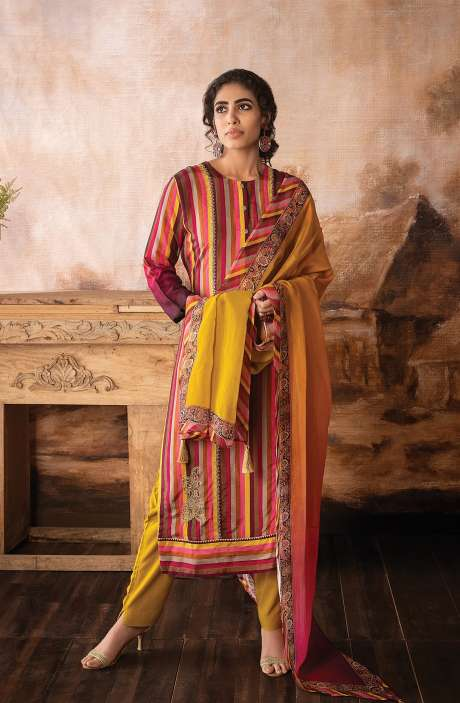Beautiful Silk Semi-stitched Salwar Kameez In Multi with Organza Dupatta - SHE8468