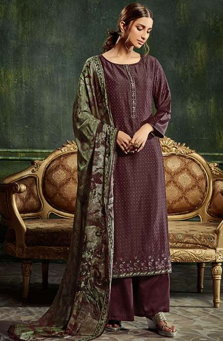 Chanderi Silk Weaving Salwar Suit Sets in Purple with Beautiful Dupatta - SHE982