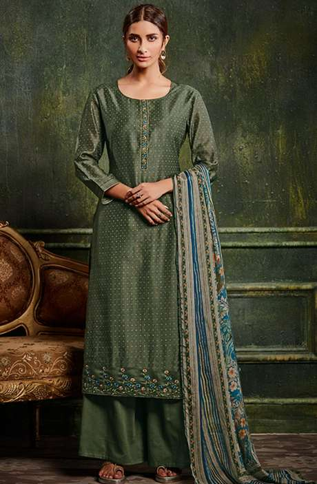 Chanderi Silk Weaving Salwar Suit Sets in Olive Green with Beautiful Dupatta - SHE983