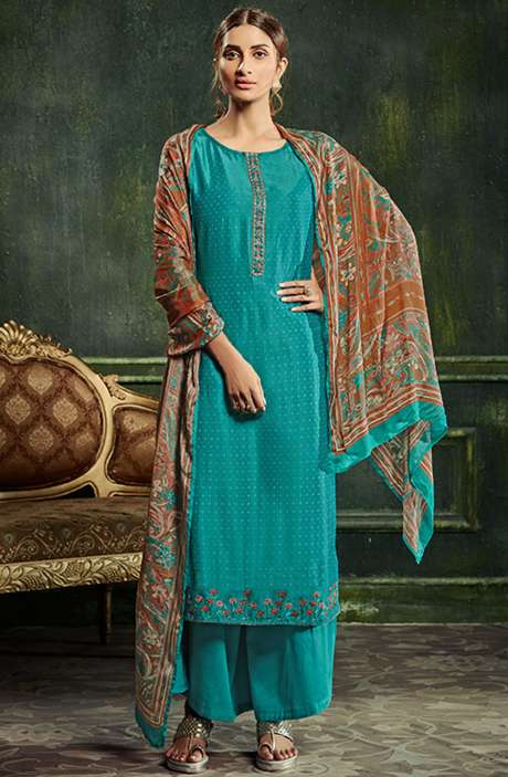 Chanderi Silk Weaving Salwar Suit Sets in Firozi with Beautiful Dupatta - SHE985