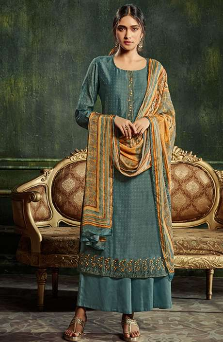 Chanderi Silk Weaving Salwar Suit Sets in Pastel Green with Beautiful Dupatta - SHE987