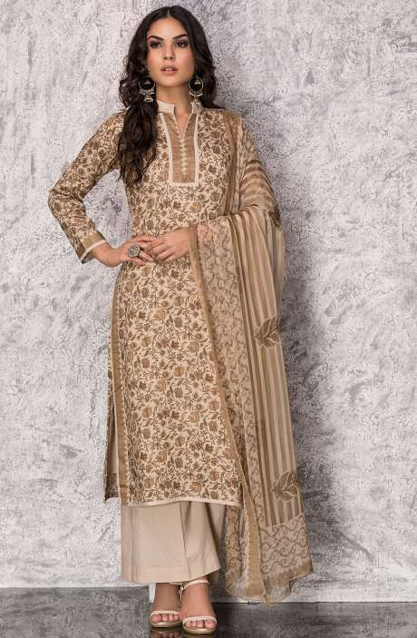 Digital Print Cotton Festive Collection Salwar Suit Sets In Beige and Brown - SHI1303B