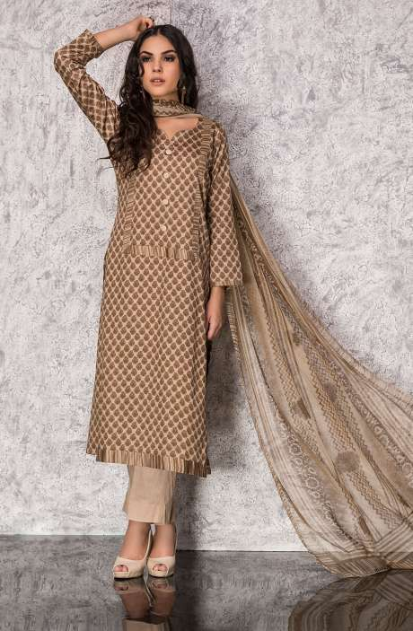 Digital Printed Cotton Festive Collection Salwar Suit Sets In Brown and Mehndi Green - SHI1304B