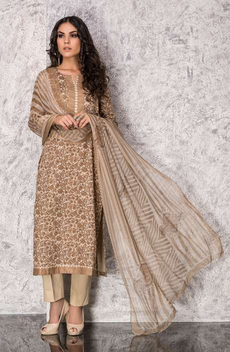 Digital Printed Cotton Festive Collection Suit Sets In Beige and Mehndi Green - SHI1305A