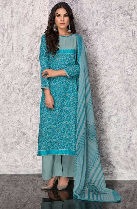 Digital Printed Cotton Festive Collection Suit Sets In Blue and Green - SHI1305B