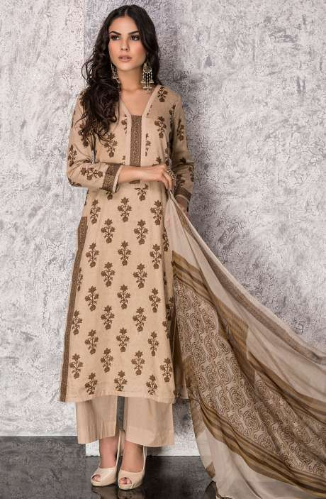 Digital Printed Cotton Festive Collection Salwar Kameez In Beige and Brown - SHI1306A
