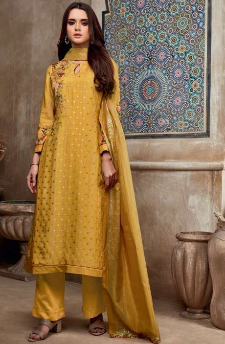 Chanderi Cotton Digital Print with Jacquard Salwar Suit In Mustard Yellow - SHI705