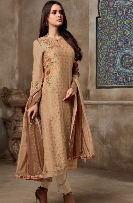 Chanderi Cotton Digital Print with Jacquard Salwar Suit In Beige - SHI710