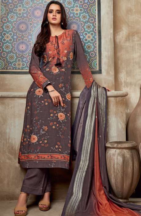 Chanderi Cotton Digital Print with Embroidery & Sequins Work Salwar Suit In Coffee Brown & Rust - SHI720