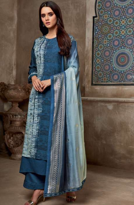 Chanderi Cotton Digital Print with Sequins Work Salwar Suit In Blue - SHI725
