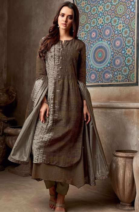 Chanderi Cotton Digital Print with Sequins Work Salwar Suit In Mehndi & Cream - SHI730