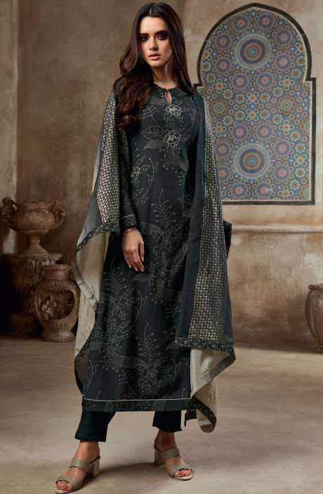 Chanderi Cotton Digital Print with Embroidery & Sequins Work Salwar Suit In Black - SHI735