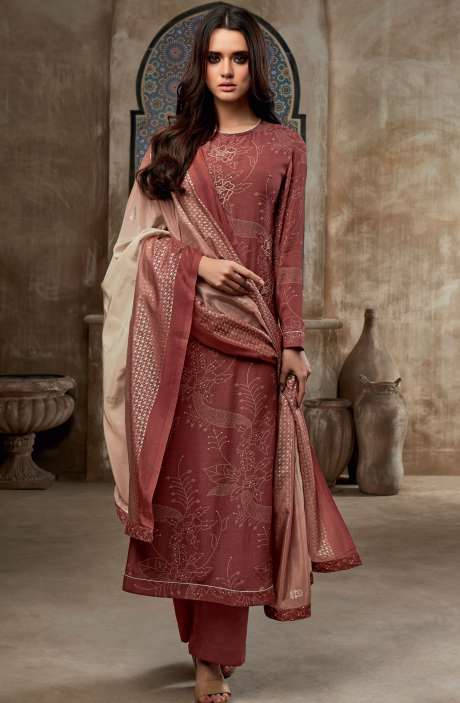 Chanderi Cotton Digital Print with Embroidery & Sequins Work Salwar Suit In Maroon - SHI740