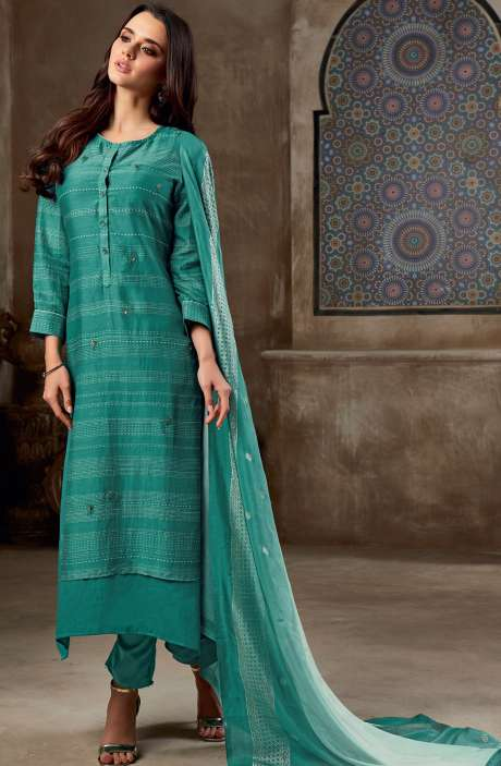 Chanderi Cotton Digital Print with Sequins & Hand Work Salwar Suit In Green - SHI745