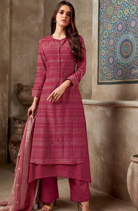 Chanderi Cotton Digital Print with Sequins & Hand Work Salwar Suit In Rose Red - SHI750
