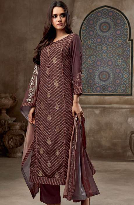 Chanderi Cotton Digital Print with Jacquard & Embroidered Salwar Suit In Coffee Brown - SHI755