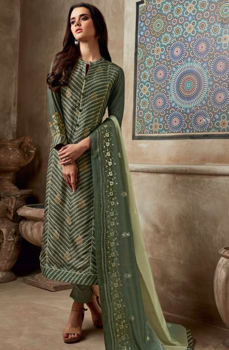 Chanderi Cotton Digital Print with Sequins Work Salwar Kameez In Mehndi - SHI760
